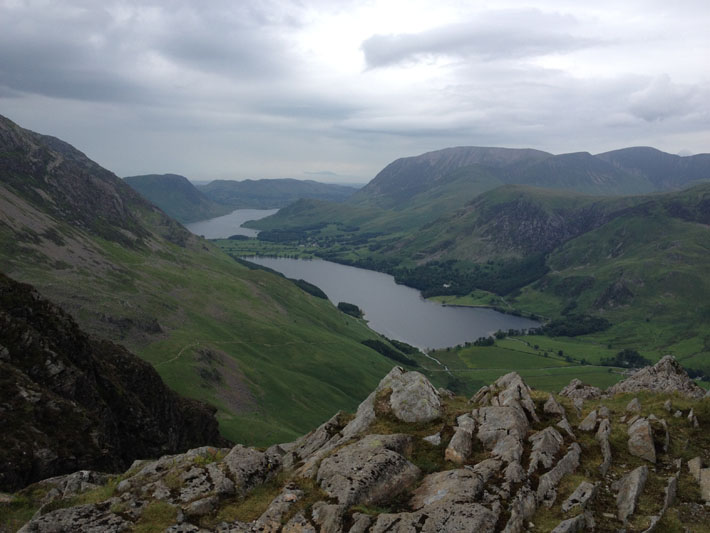 Day 1 - Looking over Buttermere and Crummock Water from Fleetwith Pike