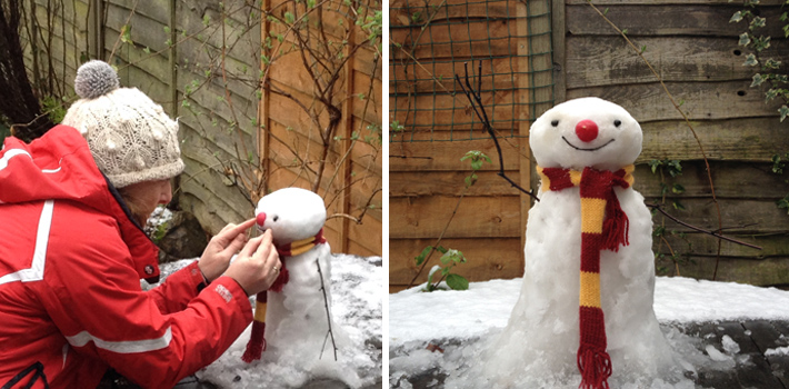 my snowman smiling for blog